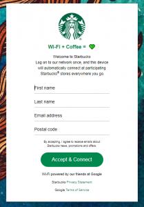 Starbucks WiFi Login Page