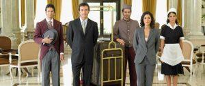 Hotel staff standing in lobby